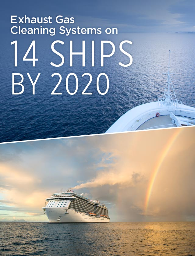 Exhaust Gas Cleaning Systems on 14 Ships by 2020; Composite image of two different ships at sea.