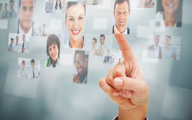 Several headshots of people floating on screen with hand pointing at them