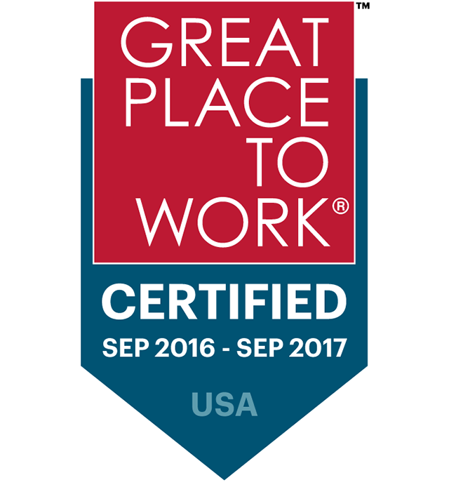 """Great Place To Work Certified September 2016-September 2017 USA"" logo"