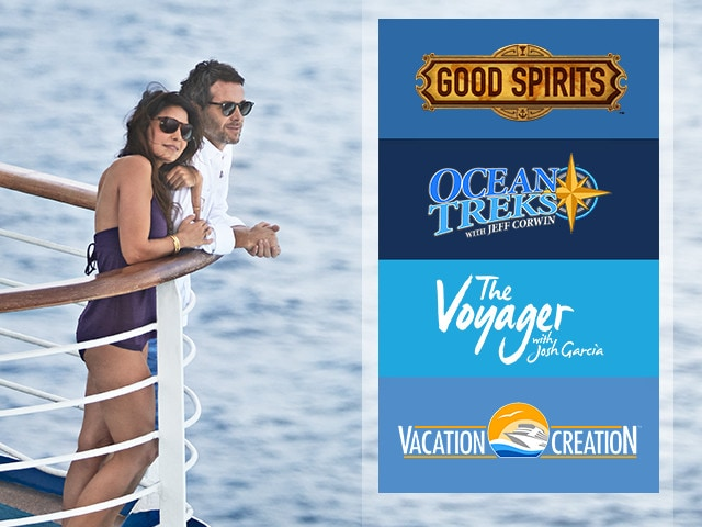 Good Spirits logo, Ocean Treks with Jeff Corwin logo, the Voyager with Josh Garcia logo, vacation creation logo - couple onboard cruise ship and looking out over the ocean