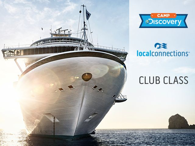 camp discovery logo, local connections logo, club class logo - front view of cruise ship looking up from sea leval