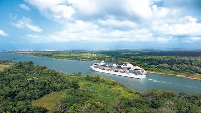 ship sailing through Panama Canal