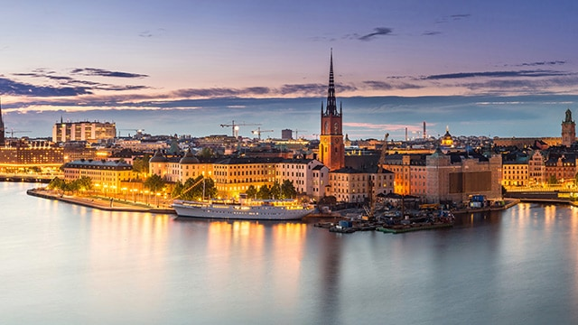 View of Stockholm at dusk