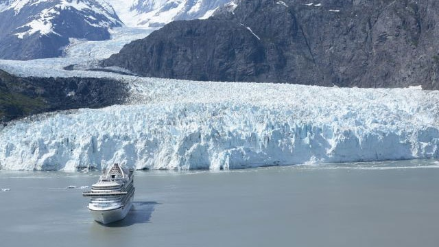 View of Glacier Bay with Princess cruise ship in the front
