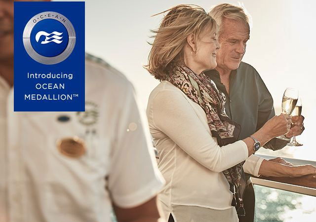 Introducing Ocean Medallion™, couple sharing a glass of champagne on deck