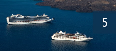5 - two different princess cruises cruise ships anchored next to each other