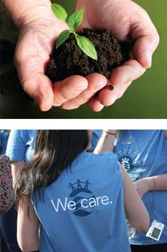 hands holding small amount of dirt with sprouting plant. Girl wearing blue shirt with We Care printed on it.