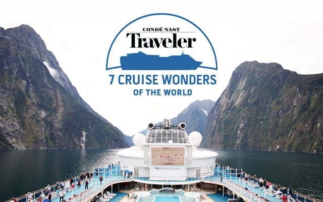 Conde Naste traveler 7 Cruise Wonders of the World logo - ship sailing through New Zealand's Fiordland National Park