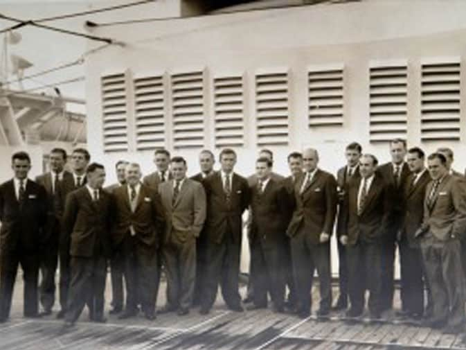Bob (far left) with the 1961 Australian test cricket team aboard P&O Himalaya