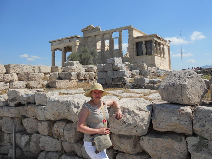 Dana posing infront of Erechtheion, an ancient Greek temple north of the Acropolis