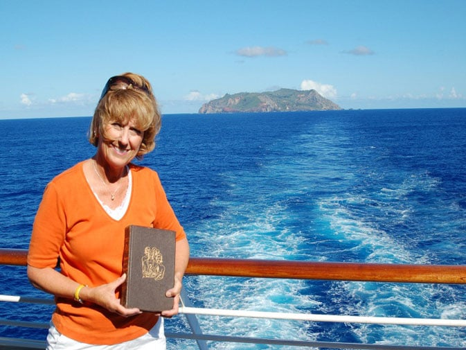 "Margie with ""Mutiny on the Bounty"" with Pitcairn Island in the back"