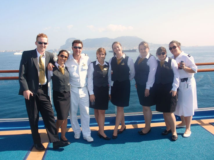 Here I am (third from the left), as Emerald Princess arrived in Gibraltar
