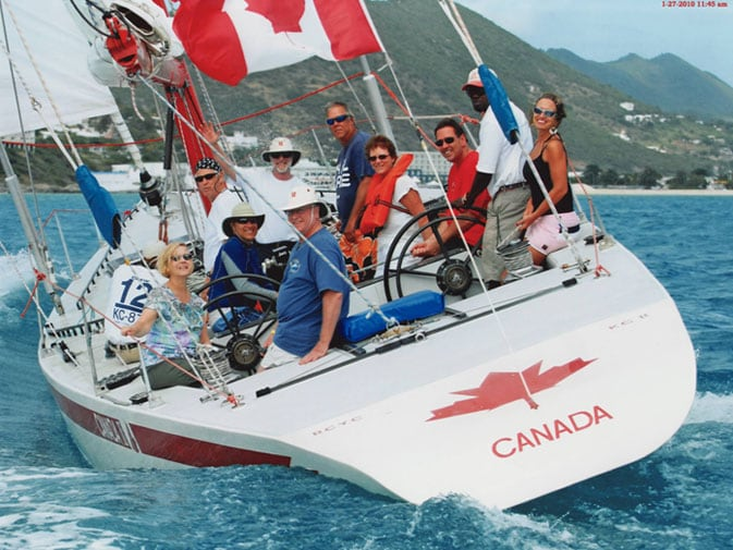 On the winning yacht in the Stars & Stripes race in St. Maarten