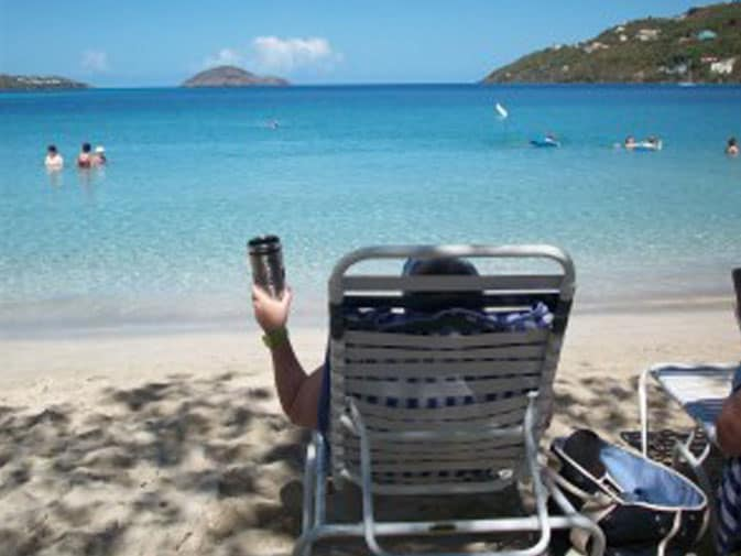 Lynette relaxing and enjoying her view of Magens Bay