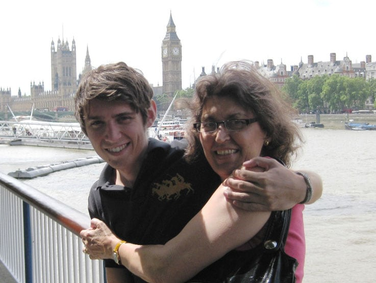 Joe and Mike's wife, Nancy, posed with the Thames, House of Parliament and Big Ben in the background