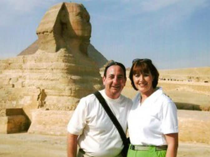 Standing in front of the Sphinx in Giza, Egypt
