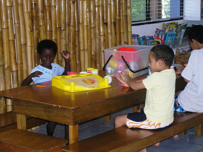 Kids in Roatan enjoying the gifts given by Meredith and her husband