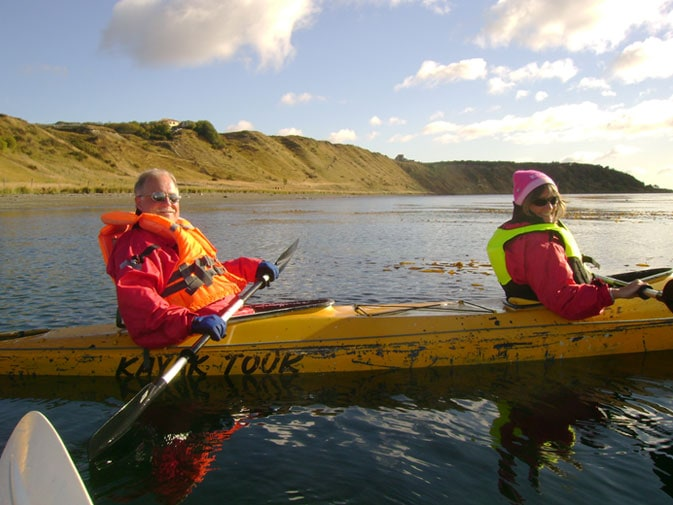 Wayne and his wife, Cindy Lu, all are smiles while kayaking in the Straits of Magellan