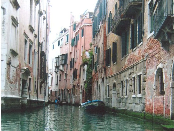 One of the many narrow canals in Venice