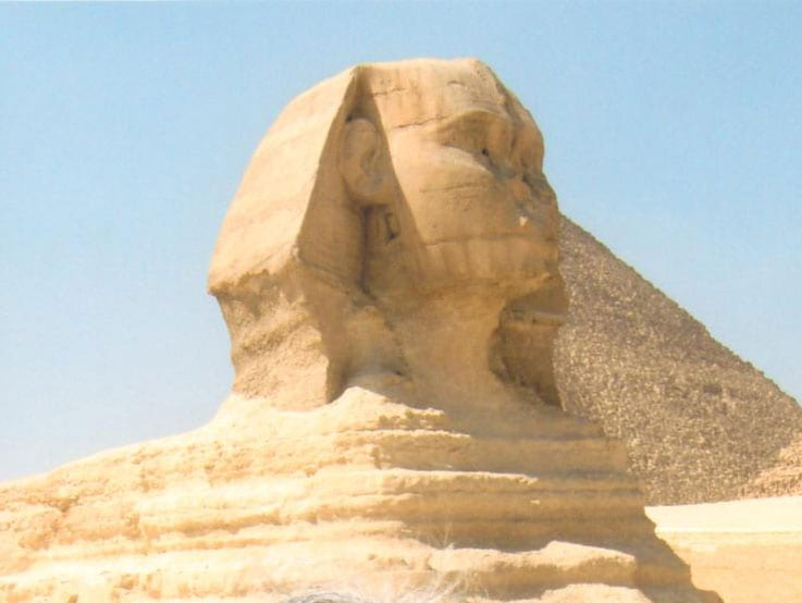 Norma's mom, Hermelinda, standing in front of the Great Sphinx of Giza