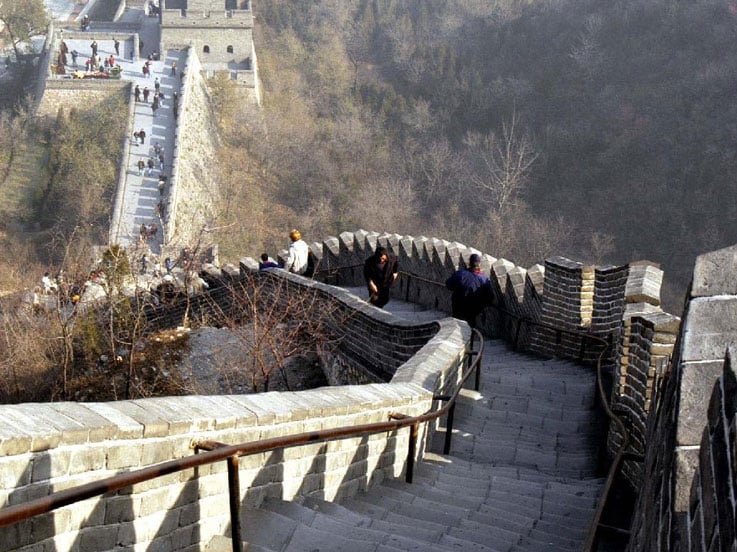 Steps down the Great Wall of China
