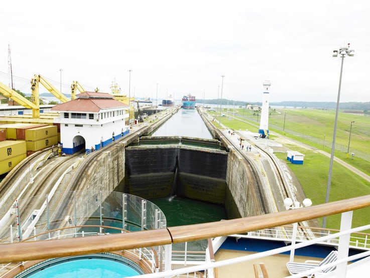 A close up of one of the Panama Canal locks