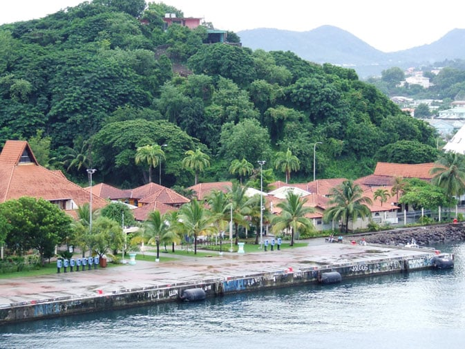Chris's view of the dock in St. Lucia from the Princess cruise ship