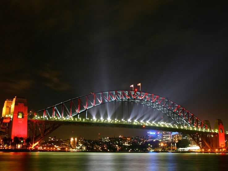Sydney Bridge, where the fireworks were displayed