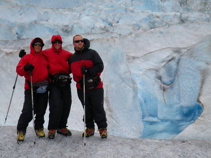 Dawn with her mother-in-law, Carol, and brother-in-law, David, hiking Mendenhall Glacier in Alaska
