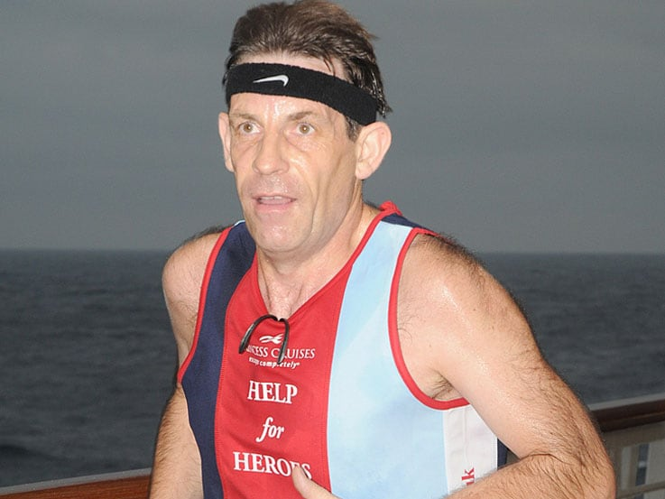 Steve Eaton ran a full marathon around the Promenade Deck of Grand Princess