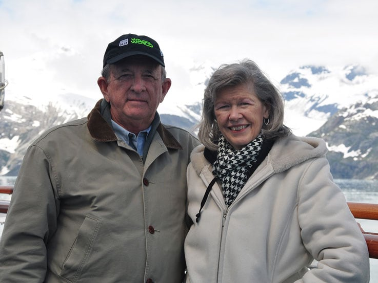 Suzanne and her husband, Charlie, enjoying Alaska