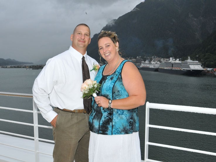 Laura and Steve on their wedding day aboard Sapphire Princess