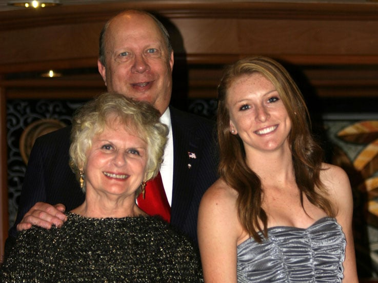 Miranda, right, with her grandparents, Laverne and Jim, aboard Sapphire Princess