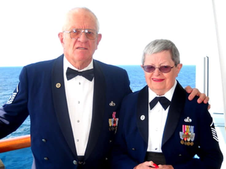 Karl and Carol ready for formal night in their US Air Force dress uniforms