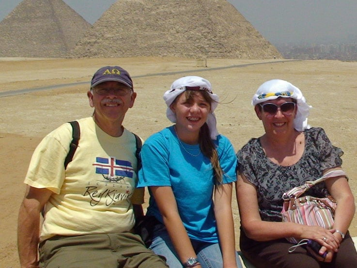 Pam (right), Catherine and Dennis in front of the Pyramids of Giza