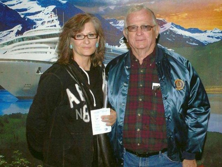Karen and her dad, Cliff, boarding Diamond Princess for hteir fatherdaughter trip of a lifetime