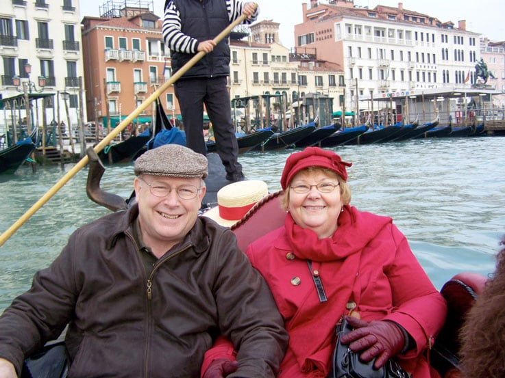 Nancy and Fred in Venice during their Mediterranean cruise
