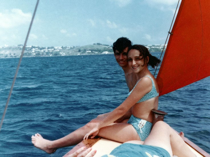 Rick and Denise sailing in 1972