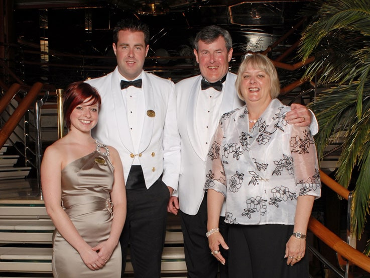 The family with lain's fiancee, Heidi, aboard Diamond Princess