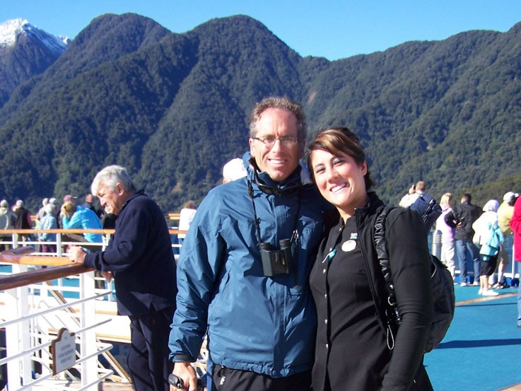 Steve and Amanda aboard Star Princess sailing through Dusky Sound in New Zealand