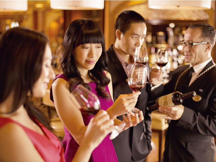 Sommelier offering wine tasting