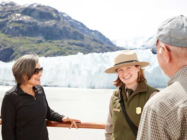 A park ranger shares commentary onboard