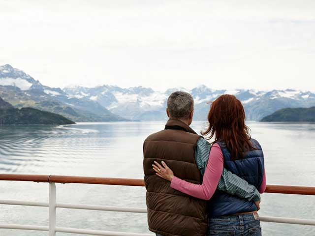 An Alaskan cruise provides plenty of scenery and activities for a romantic honeymoon.