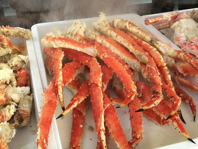Fresh Alaskan King Crab legs ready to be enjoyed by cruisers.