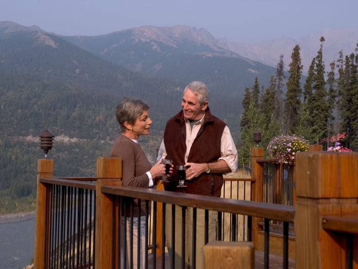 A couple on the lodge deck in Denali National Park