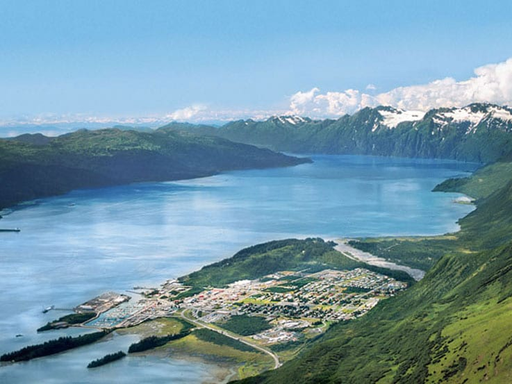 Prince WIlliam Sound and the port of Valdez in Alaska