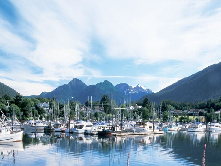 View of harbor in Sitka, Alaska