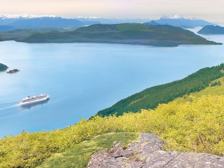 View of ship sailing in Haines, Alaska