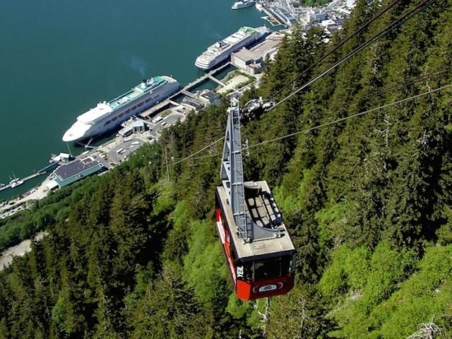 Aerial view of Juneau, Alaska, from atop the local tram on an unusually sunny day.