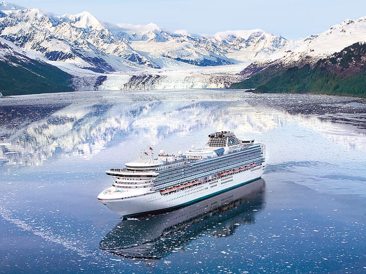 Princess Cruises sails up College Fjord to its northwestern end, where tidewater Harvard Glacier flows into the sea.